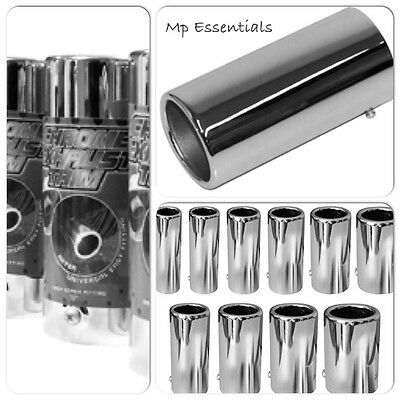 Polished Chrome Car Muffler End Exhaust Trim Tail Pipe Tip (To fit up to 85mm)