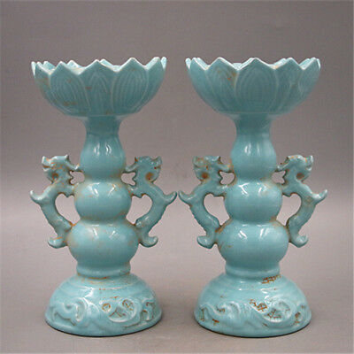 Chinese Old Ru Kiln Sky Green Glaze Double Dragon Lotus Porcelain Candle Holders