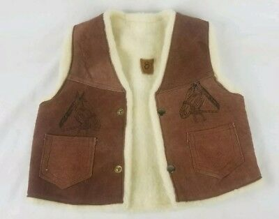 Childrens Suede Leather faux Sherpa Lined Cowboy/Cowgirl Western Vest Chest Sz 8