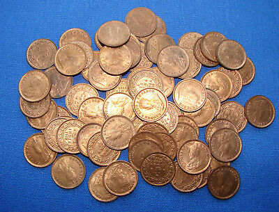 *big Lot Of (71) 1918 British - India 1+1/2 Anna Coins - All Are Uncirculated! *