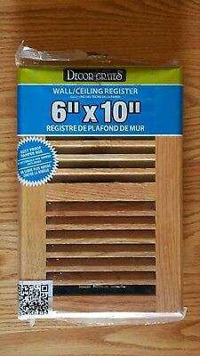 Decor Grates 6 in. x 10 in. Red Oak Wall/Ceiling Register with Damper Box