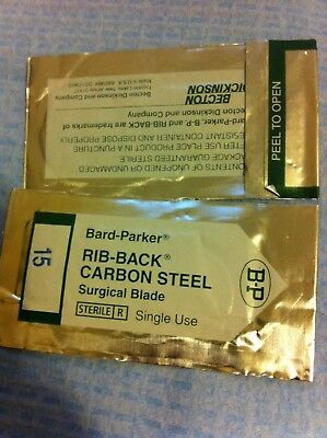 Bard-Parker Rib Back Carbon Steel Surgical Blade #15 Lot Of 50*
