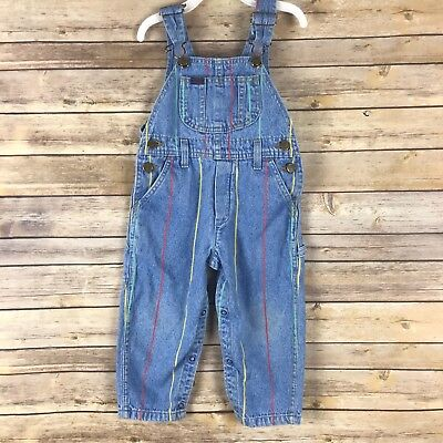 Lee Vintage Toddler Overalls Cotton Denim Striped Pockets Light Wash Size 3T