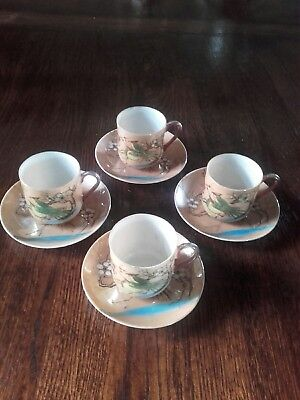 Japanese Eggshell Porcelain Coffee Cups & Saucers. Hand Painted. Made In Japan