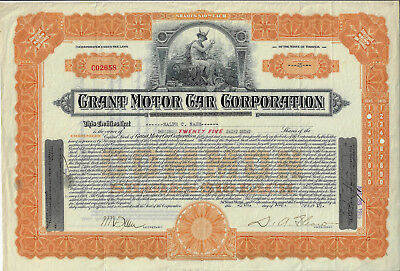 OHIO 1919 Grant Motor Car Corporation Stock Certificate