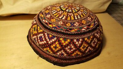 Antique Tekke Turkoman (Turkomen) Embroidered Hat Central Asia