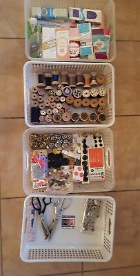 Lot of VTG Wooden Spools 50, Scissors 4, Binding/Trims/Bias 60, Bobbins, Buttons