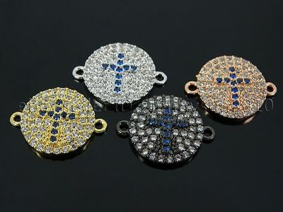 Clear Zircon Gemstones Pave Round Disk Cross Bracelet Connector Charm Beads Gold