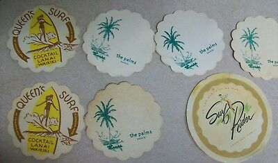 Hawaii Waikiki Cocktail Lounge Bar Coasters Queen's Surf Rider The Palms Lot
