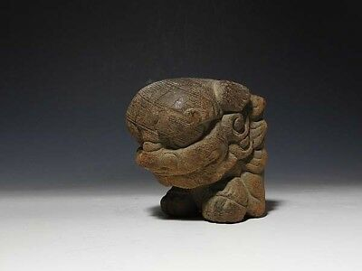 JAPANESE FOO DOG WOODEN AGED EDO PERIOD Antique WOOD CARVING ART Japan Old 645a