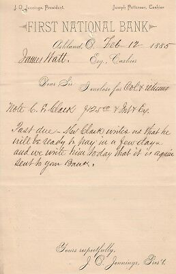 First Nat Bank of Ashland OHIO (#183) 1885 collection note from the Cashier