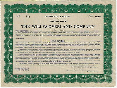 OHIO 1933 The Willys-Overland Co Stock Certificate RARE Cert of Deposit JEEP