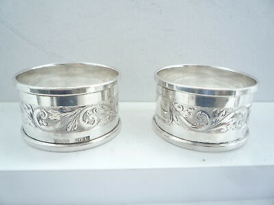 Superb Pair Solid Silver Napkin Rings With Floral Decoration - London 1942