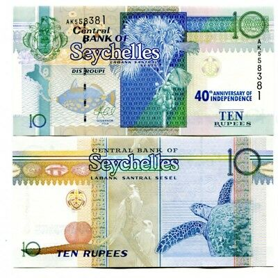 SEYCHELLES 10 RUPEES 2013 P-NEW UNC COMMEMORATIVE 40th ANNI INDEPENDENCE
