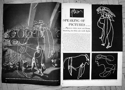 1950 Pablo Picasso-Drawing With Flashlight Original Magazine Article-W/ Pictures