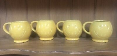 Vintage 1970's McCoy Pottery Smiley Face Mugs Set of 4