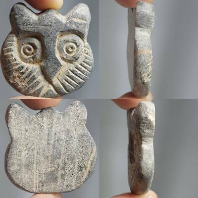 Bactrian Rare Old Stone Stunning Carved Animal Face Amulet  # 2B