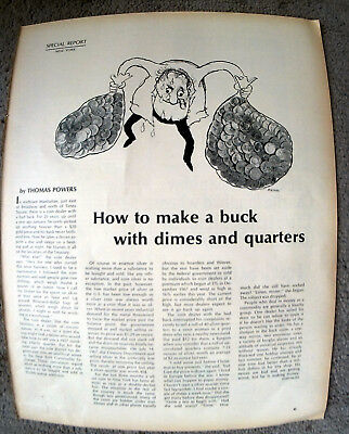 1969 How To Make A Buck With Quarters + Dimes-Original MagazineArticle-Silver Up
