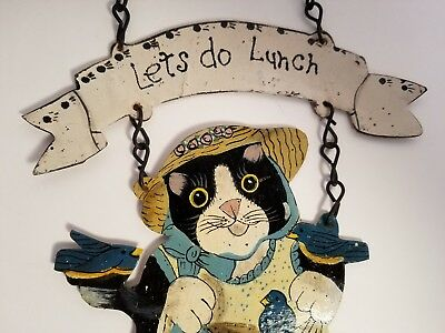 """Vintage 1996 CCP Inc. Cat """"Let's Do Lunch"""" Hand Painted Metal Sign w Orig. Tag"""