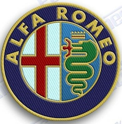 """ALFA ROMEO  AUTO CAR  SPORTS iron on embroiderED patch 2"""" X 2""""  IncHES"""