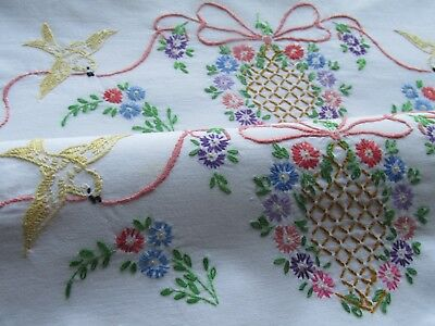 Vintage Pair of Hand Embroidered Pillow Cases-PRETTY BIRDS AND FLORAL