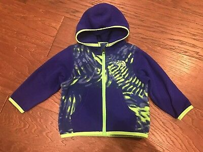 North Face Baby Boy Hoodie Size 6-12 Month Sweatshirt Blue Lime