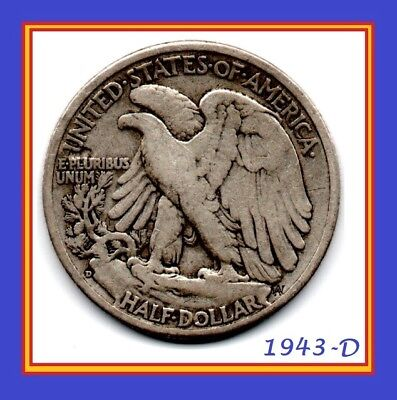 """1943 D Walking Liberty! Sought after """"Denver"""" Mint mark! ONE 90% SILVER COIN!"""