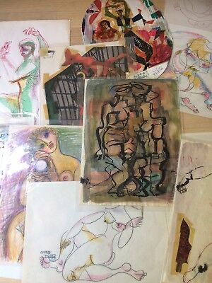 WPA Artist Edward T. Deutsch Lot of 11 Paintings, Drawing, & Collages 1950s NYC