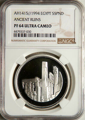 Ngc Pf-64 Ultra Cameo Egypt Silver 5 Pounds Ah1415//1994 (Ancient Ruins) Pop 1/1