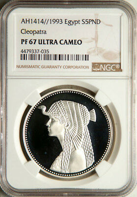 Ngc Pf-67 Ultra Cameo Egypt Silver 5 Pounds Ah1414//1993 (Cleopatra)
