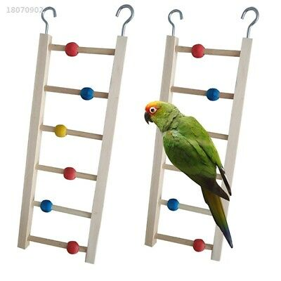 Wooden Ladder Stairs Hanging Bridge Toy for Hamster Mouse Parrot Bird Bead 82B9