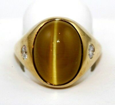 Fine Gold Cat Eye Chrysoberyl Cabochon & Diamond Ring 14k Yellow Gold 15.62Ct