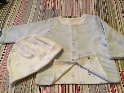 BRAND NEW M & S COTTON JACKET AND HAT 0-3 Months Baby Boy