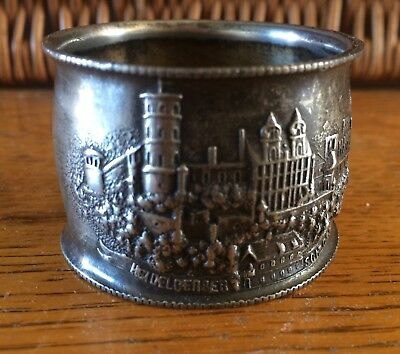 Unusual Vintage /Antique, Heidelberger Schloss/Castle Silver Plated Napkin Ring.