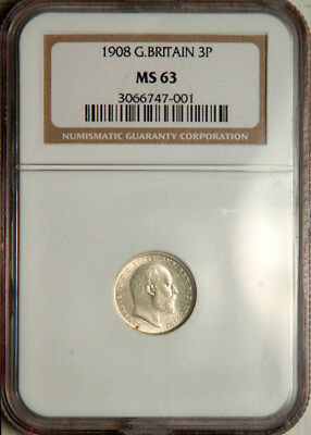 Ngc Ms-63 Great Britain Silver Threepence 3 Pence 1908 (Scarce This Nice!)