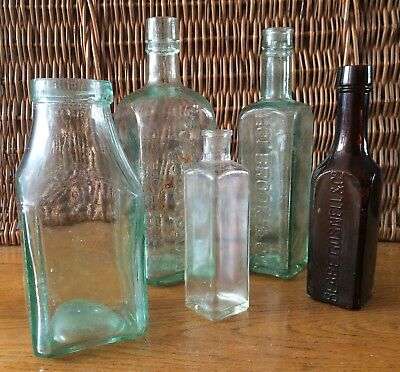 Collection Of 5, Various, Antique & Vintage Square Glass Bottles.
