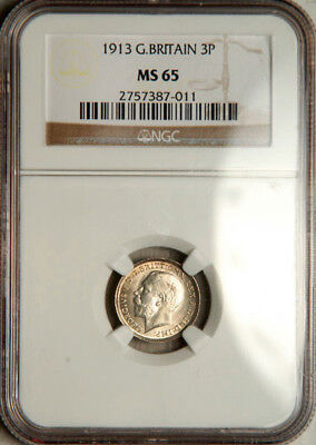 Ngc Ms-65 Great Britain Silver Threepence 3 Pence 1913 (Scarce This Nice!)