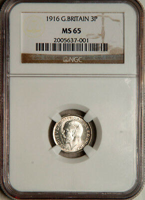 Ngc Ms-65 Great Britain Silver Threepence 3 Pence 1916 (Scarce This Nice!)