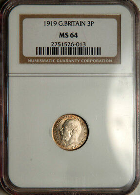 Ngc Ms-64 Great Britain Silver Threepence 3 Pence 1919 (Scarce This Nice!)