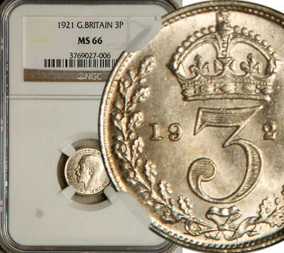 Ngc Ms-66 Great Britain Silver Threepence 3 Pence 1921 (Rare This Nice) Pop: 2/0
