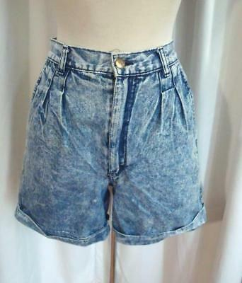 VTG 80s ACID WASH DENIM High Pleated Waist 1980s CUFFED JEANS SHORTS Sz 28