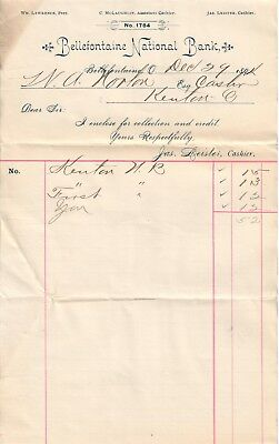 Bellefontaine Nat'l Bank OHIO #1784 1894 Cashier's collection note