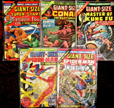 Lot of (5) MARVEL GIANT-SIZE Comics Spider-Man,Conan,Fantastic Four Bronze Age