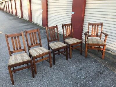 Antique set of Limbert dining room chairs (4) side & (1) arm - early 1900's NICE
