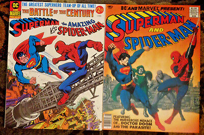 Lot (2) Superman vs Spider-Man-and-MARVEL DC Comics Treasury Editions 1976 1981