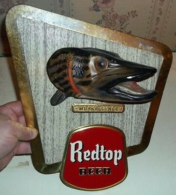 vintage red top beer muskie chalkware sign