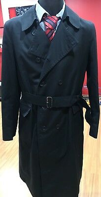 0cc15e52d Burberry Prorsum Mens Double Breasted Black London Trench Coat Size 44R Long