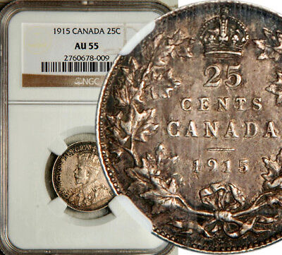 Ngc Au-55 Canada Silver 25 Cents 1915 (Key Date!) Rare!
