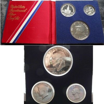 1776-1976 U.s. Bicentennial 3-Coin 40% Silver Proof Set  Free Shipping