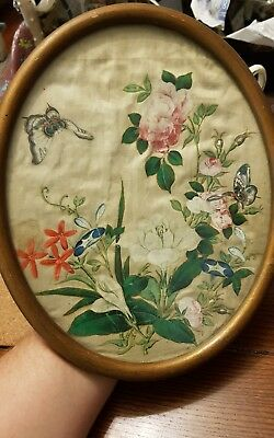 Antique Chinese Oval painting on silk